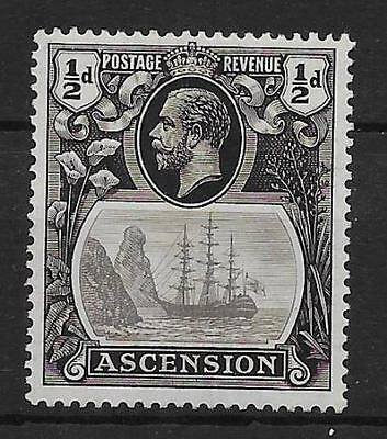 ASCENSION SG10a 1924 ½d GREY-BLACK & BLACK BROKEN MAINMAST VAR MTD MINT