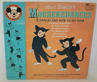 """1955 Mickey Mouse Club """"6 Mousekedances & How To Do Them"""" 78 RPM w/ Sleeve"""