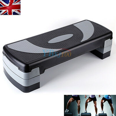 Adjustable Aerobic Step Stepper 3 Level Height Yoga Gym Board Fitness Exercise