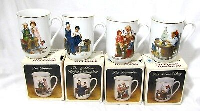Collector's Set 4 Vintage Norman Rockwell Museum Porcelain Cups Or Mugs NIB 1982