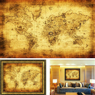 FD3190 Vintage Style Retro Cloth Poster Globe Old World Nautical Map Poster ✿