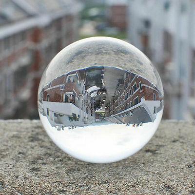 100mm Clear Round Glass Artificial Crystal Healing Ball Sphere Decoration QA