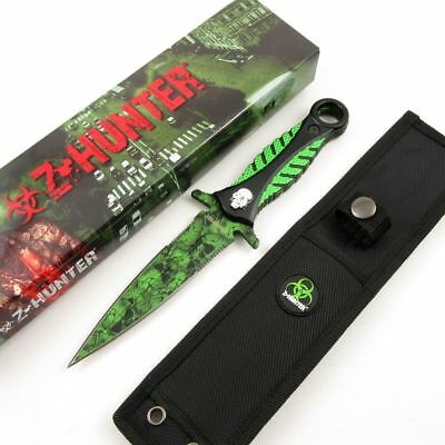 NEW ZHunter Zombie Green Skull Dagger Double-sided Knife Tactical Defense Blade
