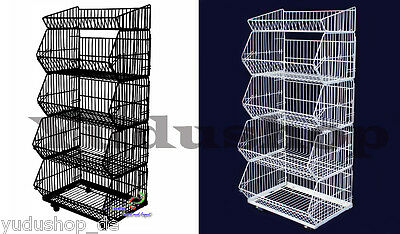 5ER Stacking Baskets Wire Trays Sales Stand