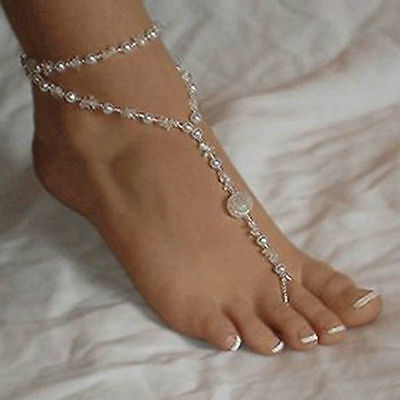 Foot Jewelry Barefoot Pearl Anklet Chain Sandal Bridal Beach Ankle Bracelet