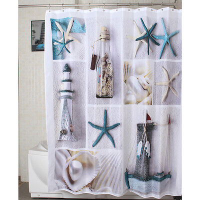 White Ocean Sea Life Polyester Fabric Shower Curtain 1.8m Long New Free Shipping