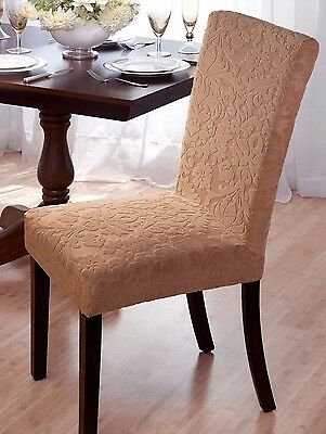 """Beige """"stretch"""" Dining Chair Cover   """"on Sale""""   Velvet Damask Avail In 4 Colors"""