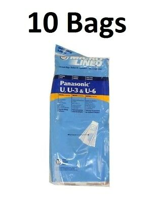 10 Vacuum Bags to Fit Panasonic U, U3, U6 Allergy Bags