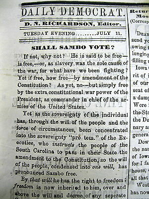 1865 CW newspaper Racist Editorial DENYING NEGROES RIGHT TO VOTE CallsThm SAMBOS