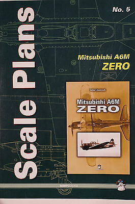 WW2 Japanese Mitsubishi A6M Zero Aircraft Scale Plans 5 Reference Book