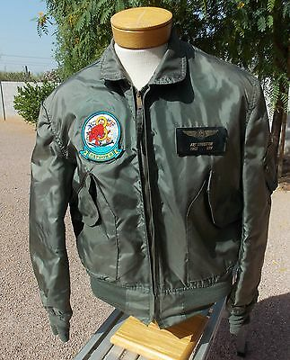 USN P-3 Orion Antisub Aircraft Aircrew Flight Jacket CWU-36/P,Large with Patches