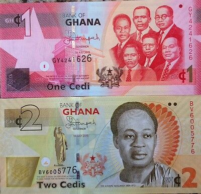 Ghana 2015 1 & 2 Cedis Uncirculated Banknote Pair Brand New From A Usa Seller !!