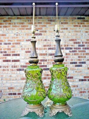 Pair Vtg 3 Way Mid Century Hollywood Regency Table Lamps Green Gold Ornated