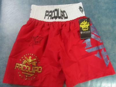 MANNY PACQUIAO TRUNK Red  SHORT SZ FREE SIZE ORIGINAL AUTOGRAPH BLACK INK #2