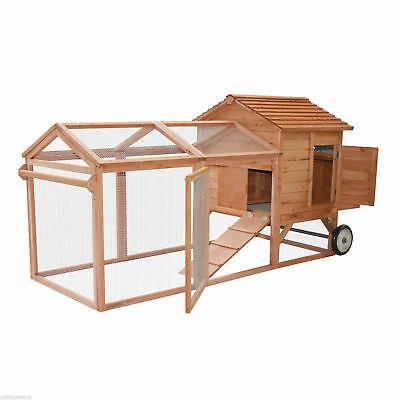 "PawHut 96.5"" Wooden Chicken Coop Poultry Pet Cage W/ Run Wheels Backyard Tray"