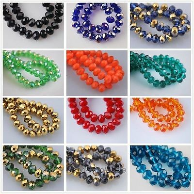 70 Pcs Rondelle Faceted Crystal Glass Loose 8mm Beads DIY Findings