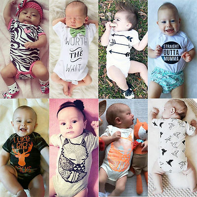 Newborn Baby Boy Girl Infant Romper Jumpsuit Bodysuit Clothes Outfits One-pieces