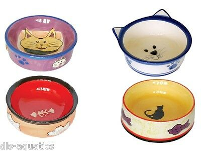 Ceramic Cat Dish Bowl Cat Kitten Feeding Food Water
