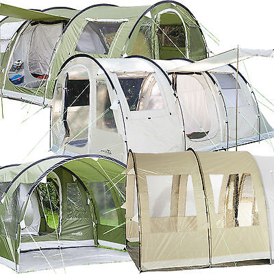 skandika Gotland Tunnel Tents 4-6 Person Canopy Green & Sand Sewn-in Floor New