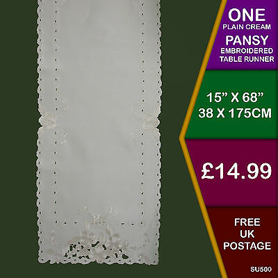 Plain Cream Pansy Embroidered Cutwork Table Runner Kitchen Dining SU500