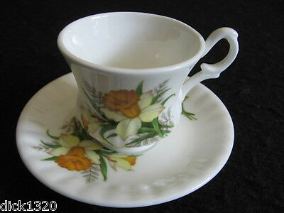 VINTAGE STAFFORD BONE CHINA WELSH THEMED 'DAFFODIL' CUP & SAUCER DUO c.1970's EX