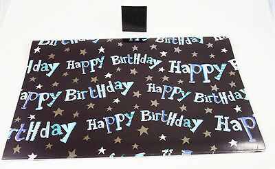 Happy Birthday Mens Gift Wrap Wrapping Paper Boy Present 2 Sheets 1 Tag