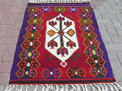 "Vintage Anatolian Turkish Small Antalya Kilim 36,2""x46,4"" Small Rug,Kelim,Carpet"