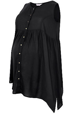 Womens Bump It Up Maternity Button Up Trapeze Top With Crochet Back Panel