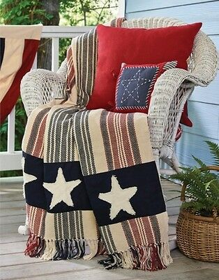Star Spangled Woven Throw : Primitive American Flag Patriotic Quilt Blanket