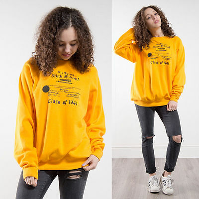 Sweatshirt Womens 90S Yellow Big Spring High School Pennsylvania Oversize 14 16