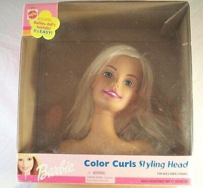 2001 Mattel Barbie Color Curls Styling Head with Instructions GUC