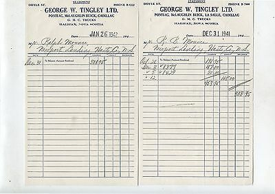 2 Old 1942 Letterheads George W.Tingley Halifax NS McLaughlin Buick GMC