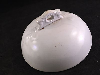 Vintage White Ironstone China Round Butter Dish Lid