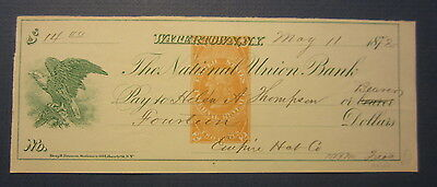 Old 1872 - WATERTOWN - N.Y. - BANK CHECK - Revenue Stamp - Empire Hat Co