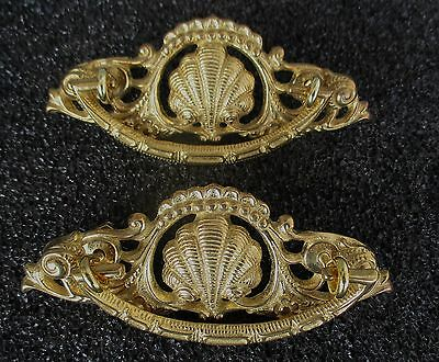 Pair Of Shell Design Heavy Brass Drawer Pulls