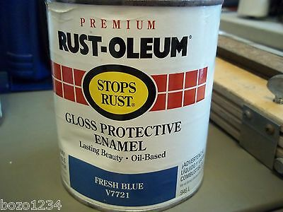 1 QUART RUSTOLEUM Paint Enamel Oil Based Stops Rust Fresh Blue V7721