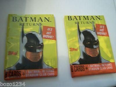 2 Sealed Packs 1991 Topps Dc Comics  Batman Returns 8 Cards +Stadium Club Insert