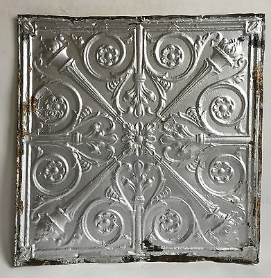 """24""""x 24"""" Antique Ceiling Tin Silver *See Our Salvage Videos  C61a  Torches"""