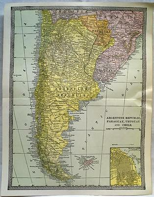 South America Argentina Chile Map 1912 Vintage Scientific American Atlas Page