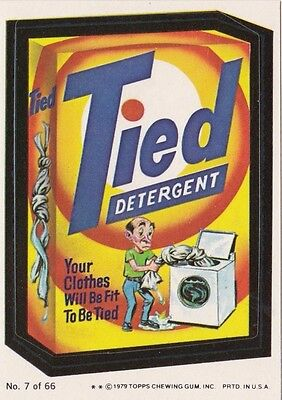 1979 Topps Wacky Packages Puzzle Back Sticker Tied Detergent #7