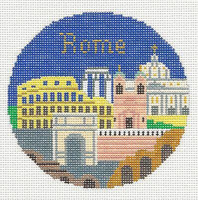 """Silver Needle  ROME, ITALY  handpainted 4.25"""" Round Needlepoint Canvas Ornament"""