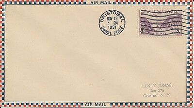 #C11 Canal Zone Air Mail 20c A.C. Roessler envelope uncacheted FIrst Day cover