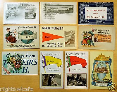 10 Antique Greeting Postcards ALL WEIRS, NH New Hampshire - Lake Winnipesaukee