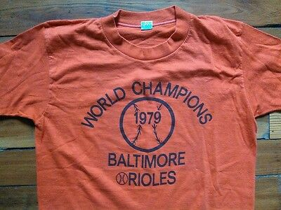 RARE Vtg 1979 Baltimore Orioles Baseball World Champions PRINT ERROR T Shirt L