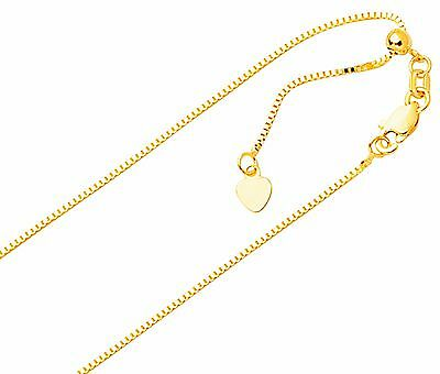 """14K Yellow Gold Adjustable Box Chain 16-22"""" Necklace"""