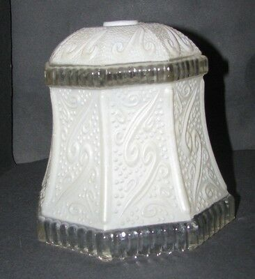 Antique Ceiling Lamp Replacement Shade Vintage Paneled Mottled White and Clear