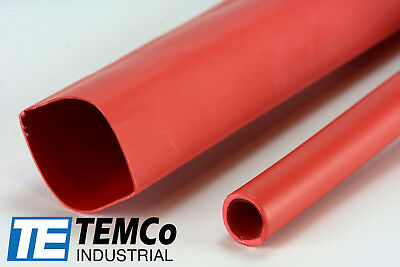 "TEMCo 1"" Marine Heat Shrink Tube 3:1 Adhesive Glue Lined 4 ft RED"