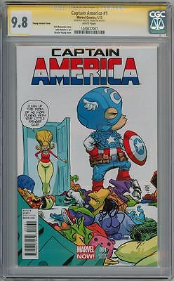 Captain America #1 Baby Variant Cgc 9.8 Signature Series Signed Skottie Young