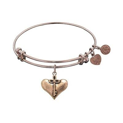 Antique Pink Smooth Finish Brass Cherish Heart and Key Angelica Bangle