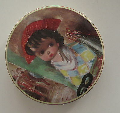 "Vintage CHILD HARLEQUIN Candy Tin 5"" - Mardi Gras"